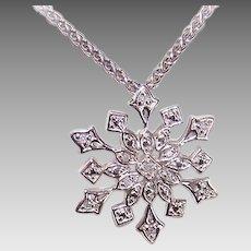 Vintage STERLING SILVER & Diamond Pendant - Winter Snowflake!
