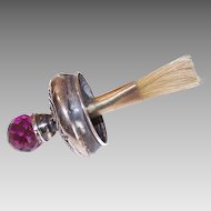 ANTIQUE EDWARDIAN Sterling Silver & Amethyst Crystal Brush for a Glue Pot by Foster & Bailey!