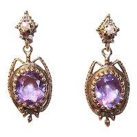 Victorian Revival 14K Gold Pearl Amethyst Earrings