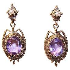 14K Gold Pearl Amethyst Earrings
