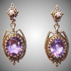 VICTORIAN REVIVAL 14K Gold, Cultured Pearl & 6 CT TW Amethyst Drop Earrings!