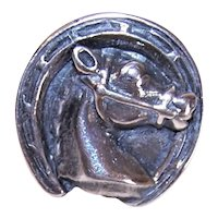 Sterling Silver Tie Tack Lapel Pin - Horse Head in Horseshoe