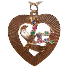 Retro Modern 14K GOLD, Ruby, Sapphire & Emerald Heart Charm or Heart Pendant!
