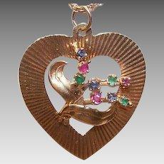 Retro Modern 14K GOLD, Ruby, Sapphire & Emerald Heart Charm or Heart Pendant!