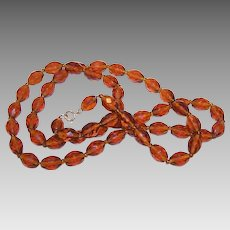 ART DECO Necklace of Faceted Amber Glass Beads! Just Gorgeous!