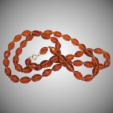 Amber Glass Bead Deco Necklace