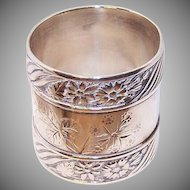 ANTIQUE VICTORIAN Sterling Silver or Coin Silver Napkin Ring - Aesthetic Design!