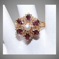 RETRO MODERN 14K Gold, Garnet & Cultured Pearl Ring - Victorian Revival Design!
