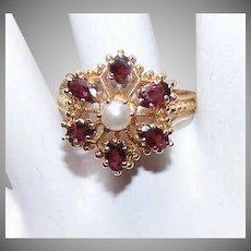 RETRO MODERN 14K Gold, Garnet & Cultured Pearl Ring - Victorian Revival Design!