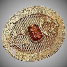 ANTIQUE EDWARDIAN Gilt Metal & Citrine Rhinestone Paste Pin!
