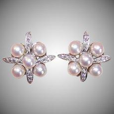 RETRO MODERN 14K Gold, 5mm Cultured Pearl & .24CT TW Diamond Clipback Earrings!
