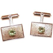 RETRO MODERN 14K Gold & 1 CT TW Peridot Cufflinks * Cuff Links by Ballou!