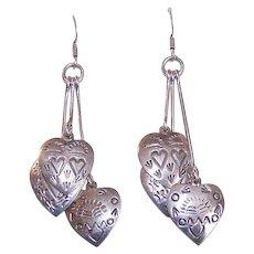 Vintage STERLING SILVER Heart Drop Earrings * Pierced Ears * Native American Design!