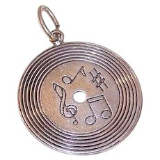 Vintage SILVERPLATE Charm - LP Record, Musical Notes