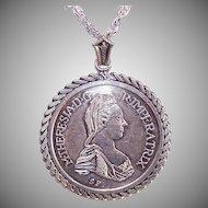 Vintage EUROPEAN 800 Silver Maria Theresa Thaler Coin Pendant!