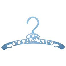 Vintage PALE BLUE Plastic Baby Clothes Hanger - Bambi Smelling Flowers!