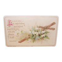 Antique French Celluloid Religious Gift Card - For First Communion or Communion