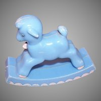 Vintage BABY KITSCH Plastic Rattle by Knickerbocker - Rocking Lamb in Blue & Pink