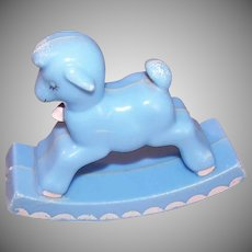 Vintage BABY KITSCH Plastic Rattle by Knickerbocker - Rocking Lamb in Blue & Pink
