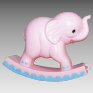 Vintage BABY KITSCH Plastic Rattle by Knickerbocker - Rocking Pink Elephant