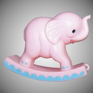 Vintage BABY KITSCH Plastic Rattle by Knickerbocker - Rocking Pink Elephant
