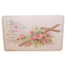 Antique French Celluloid Religious Gift Card - For First Communion or Confirmation
