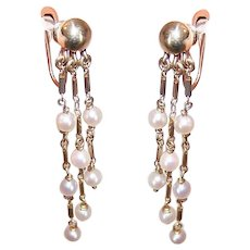 14K Gold Cultured Pearl Earrings