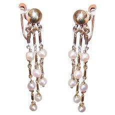 Vintage 14K Gold and Cultured Pearl Drop Earrings - Screwback Findings