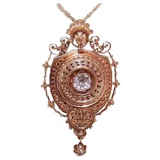 ANTIQUE VICTORIAN 14K Gold and .65CT Diamond Locket Pin or Pendant - Etruscan Style