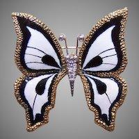 Estate 18K Gold B&W Enamel Diamond Butterfly Pin