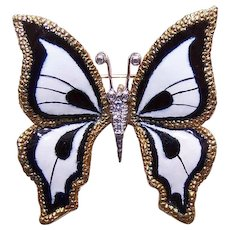ESTATE 18K Gold, Enamel & .10CT TW Diamond Pin or Pendant - Black and White BUTTERFLY
