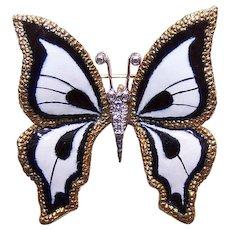 ESTATE 18K Gold, Enamel & .10CT TW Diamond Pin or Pendant - Black and White BUTTERFLY