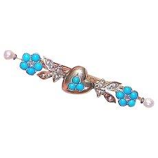 14K Gold Diamond Turquoise Bar Pin