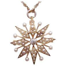 ANTIQUE EDWARDIAN 14K Gold, .12CT Diamond & Natural Pearl Pin or Pendant by Krementz
