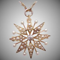 ANTIQUE EDWARDIAN 14K Gold, .12CT Diamond & Natural Pearl Pin or Pendant by Krementz
