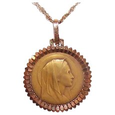 Art Deco FRENCH 18K Gold Religious Medal by Emile Dropsy - Holy Virgin Mary