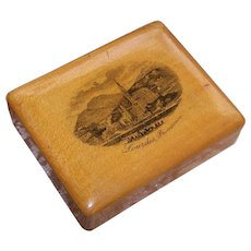 ANTIQUE VICTORIAN Mauchlineware - Religious Treen Trinket Box from Lourdes, France