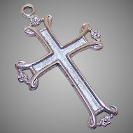 Vintage STERLING SILVER Religious Cross Pendant - Plain & Simple - No Ornate Design