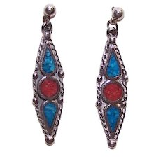 Native American Sterling Silver Inlaid Turquoise & Coral Drop Earrings Pierced Earrings