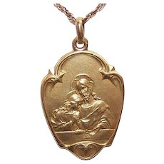Art Nouveau FRENCH 18K Gold Filled (Oria) First Communion Medal or Religious Pendant