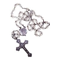 Mill Mark Sterling Silver Clear Crystal Rosary - Fleur de Lis Design on Crucifix