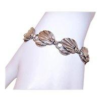 Hermann Siersbol Denmark Sterling Silver Stylized Leaf & Berries Link Bracelet | Danish Modern Jewelry