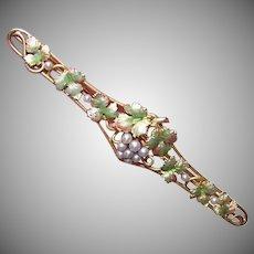 Art Nouveau 14K Gold Enamel Pearl Bar Pin
