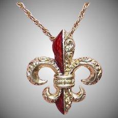 ANTIQUE VICTORIAN 14K Gold & Red Enamel Pendant - French Fleur de Lis