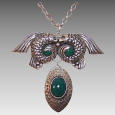 Pre-1948 MEXICAN Sterling Silver and Green Onyx Necklace by ANTON, Taxco - Pisces Design