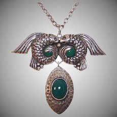 Mexican Silver Green Onyx Pisces Necklace