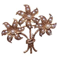 ANTIQUE VICTORIAN 14K Gold and Natural Seed Pearl Pin - Bouquet of Flowers