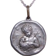 Large C.1900 FRENCH Religious Medal or Pendant - Infant Saint John the Baptist