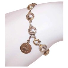 Vintage FRENCH SILVER Bracelet - Religious, Dizainier, Rose Links, Saint Theresem, Lisieux