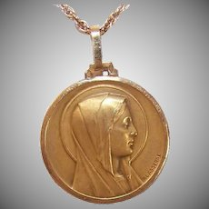 Art Deco 18K GOLD Medal - Religious, Pendant, Virgin Mary, French, P Lasserre